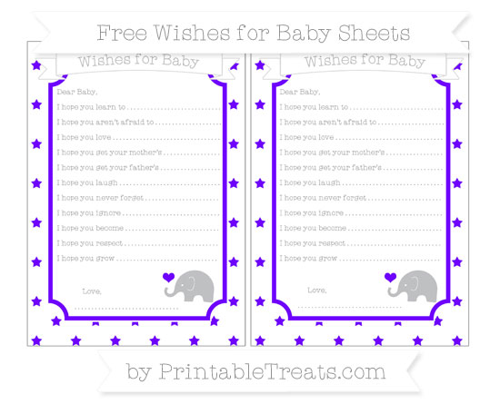 Free Indigo Star Pattern Baby Elephant Wishes for Baby Sheets