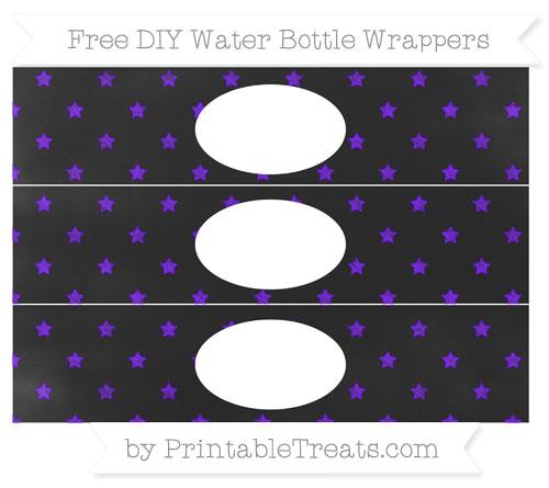 Free Indigo Star Pattern Chalk Style DIY Water Bottle Wrappers