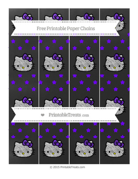Free Indigo Star Pattern Chalk Style Hello Kitty Paper Chains