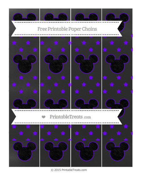 Free Indigo Star Pattern Chalk Style Mickey Mouse Paper Chains