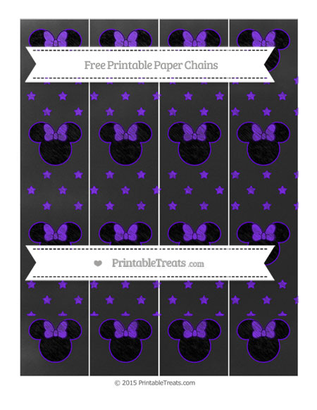Free Indigo Star Pattern Chalk Style Minnie Mouse Paper Chains