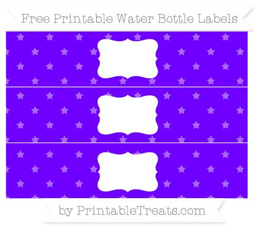 Free Indigo Star Pattern Water Bottle Labels