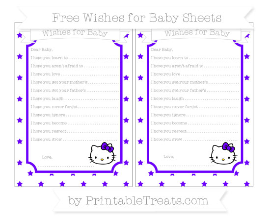 Free Indigo Star Pattern Hello Kitty Wishes for Baby Sheets