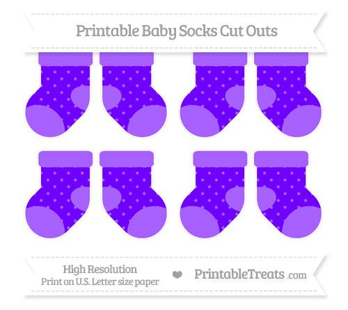 Free Indigo Star Pattern Small Baby Socks Cut Outs