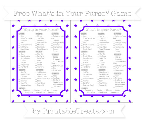 Free Indigo Star Pattern What's in Your Purse Baby Shower Game