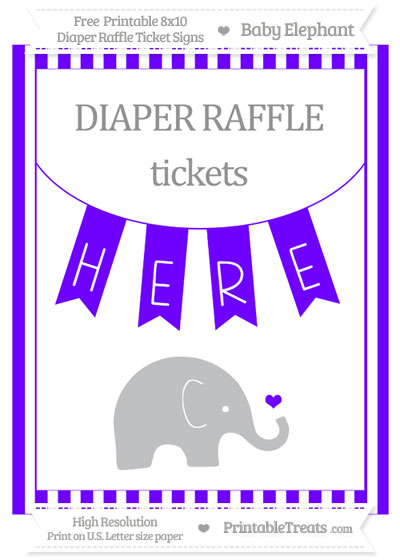 Free Indigo Striped Baby Elephant 8x10 Diaper Raffle Ticket Sign