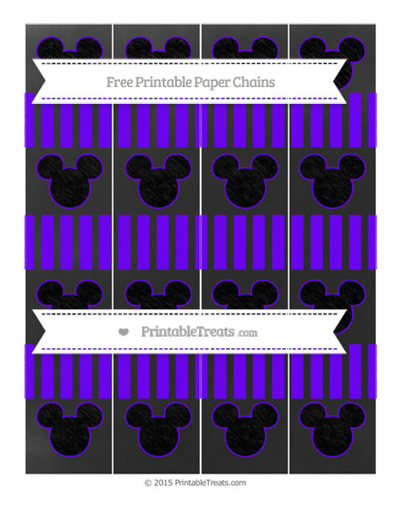 Free Indigo Striped Chalk Style Mickey Mouse Paper Chains