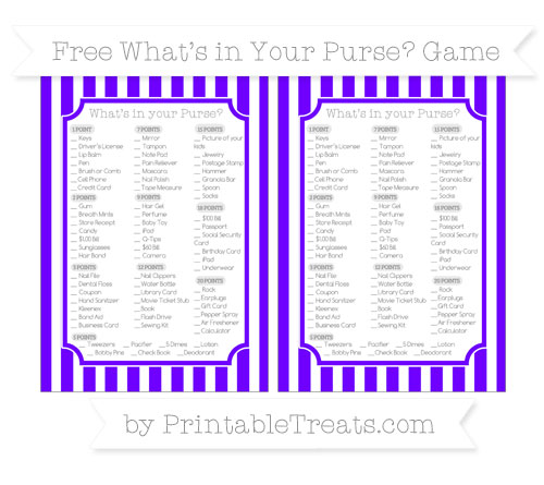 Free Indigo Striped What's in Your Purse Baby Shower Game