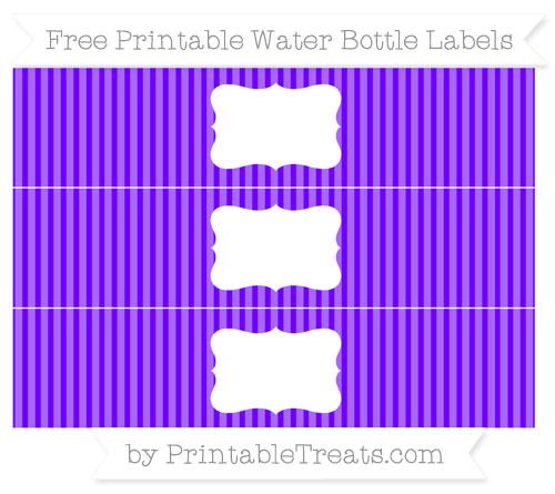 Free Indigo Thin Striped Pattern Water Bottle Labels