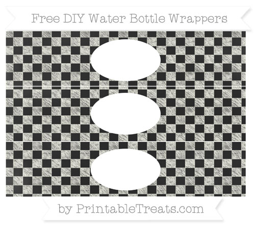Free Ivory Checker Pattern Chalk Style DIY Water Bottle Wrappers