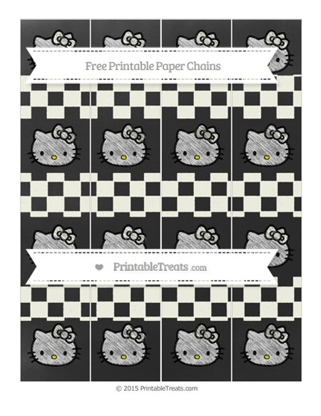 Free Ivory Checker Pattern Chalk Style Hello Kitty Paper Chains