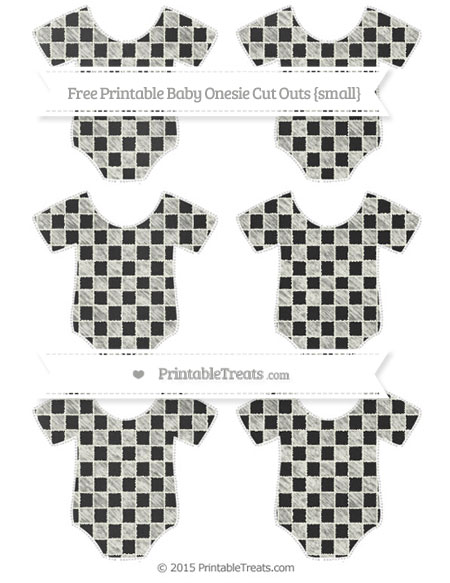 Free Ivory Checker Pattern Chalk Style Small Baby Onesie Cut Outs