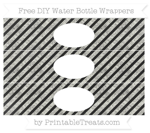 Free Ivory Diagonal Striped Chalk Style DIY Water Bottle Wrappers