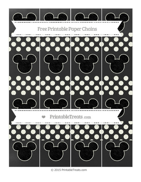 Free Ivory Dotted Pattern Chalk Style Mickey Mouse Paper Chains