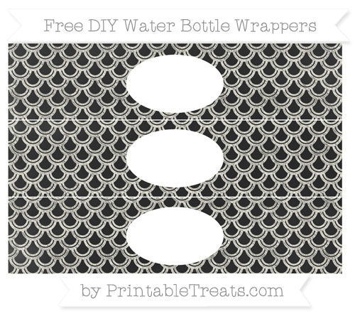 Free Ivory Fish Scale Pattern Chalk Style DIY Water Bottle Wrappers