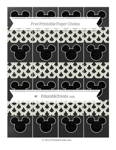 Free Ivory Fish Scale Pattern Chalk Style Mickey Mouse Paper Chains