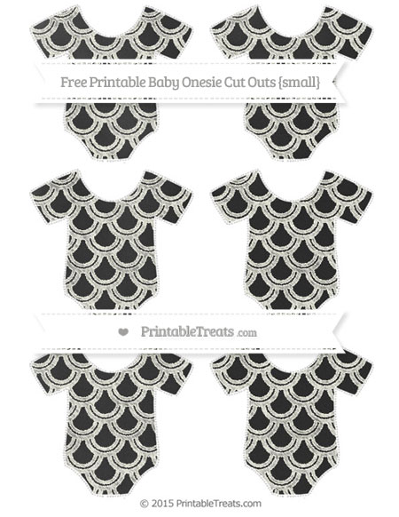 Free Ivory Fish Scale Pattern Chalk Style Small Baby Onesie Cut Outs