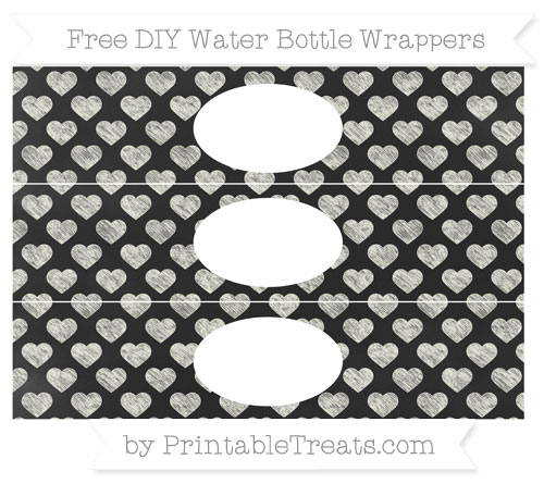 Free Ivory Heart Pattern Chalk Style DIY Water Bottle Wrappers