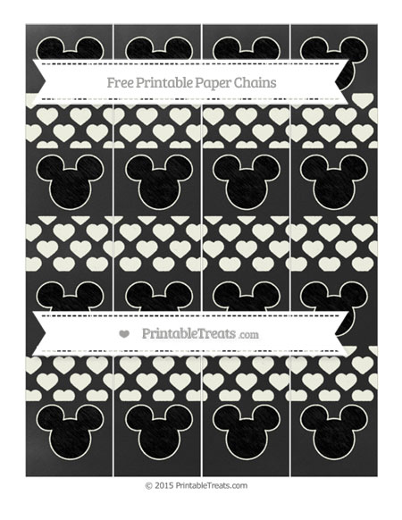 Free Ivory Heart Pattern Chalk Style Mickey Mouse Paper Chains