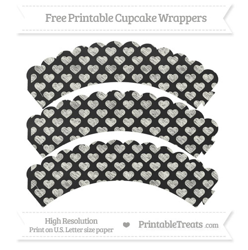 Free Ivory Heart Pattern Chalk Style Scalloped Cupcake Wrappers