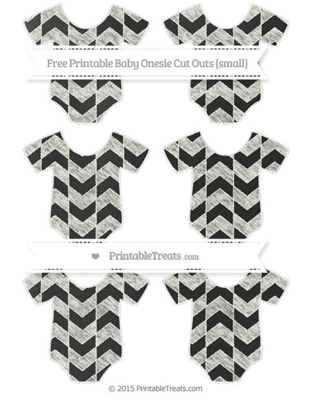 Free Ivory Herringbone Pattern Chalk Style Small Baby Onesie Cut Outs