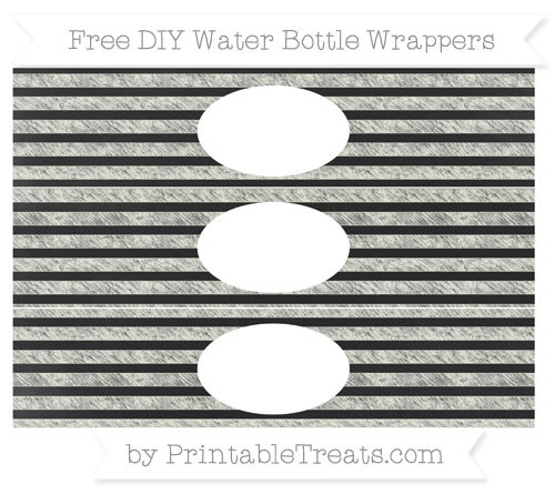 Free Ivory Horizontal Striped Chalk Style DIY Water Bottle Wrappers