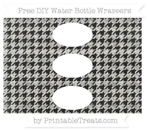 Free Ivory Houndstooth Pattern Chalk Style DIY Water Bottle Wrappers