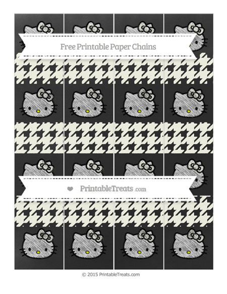 Free Ivory Houndstooth Pattern Chalk Style Hello Kitty Paper Chains