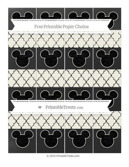 Free Ivory Moroccan Tile Chalk Style Mickey Mouse Paper Chains