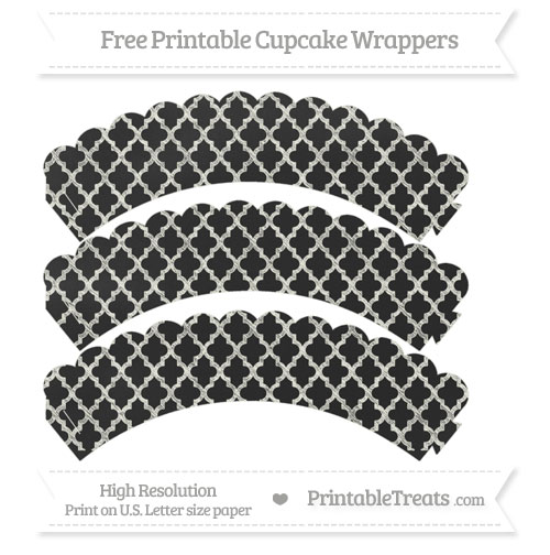Free Ivory Moroccan Tile Pattern Chalk Style Scalloped Cupcake Wrappers