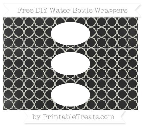 Free Ivory Quatrefoil Pattern Chalk Style DIY Water Bottle Wrappers