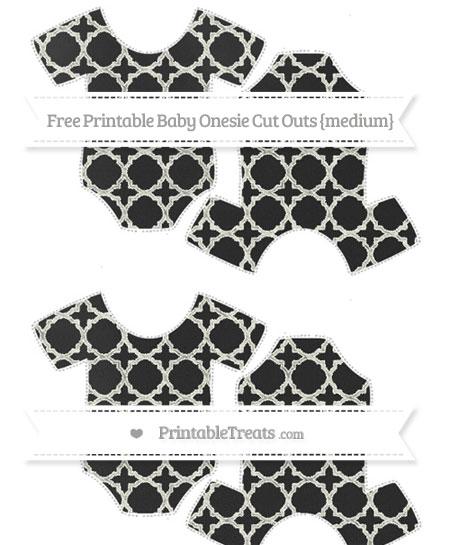 Free Ivory Quatrefoil Pattern Chalk Style Medium Baby Onesie Cut Outs