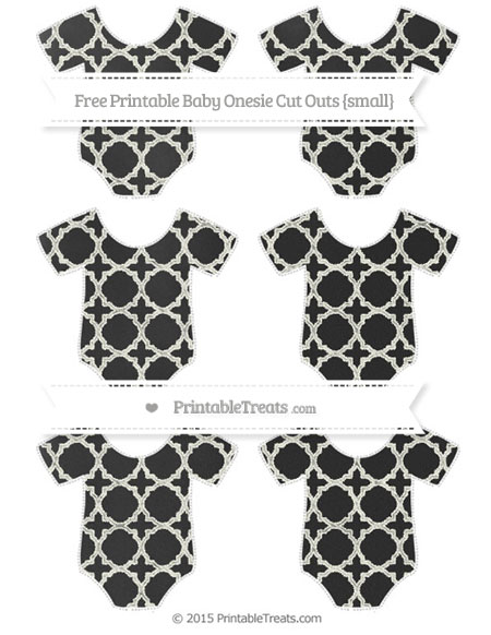 Free Ivory Quatrefoil Pattern Chalk Style Small Baby Onesie Cut Outs