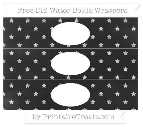 Free Ivory Star Pattern Chalk Style DIY Water Bottle Wrappers