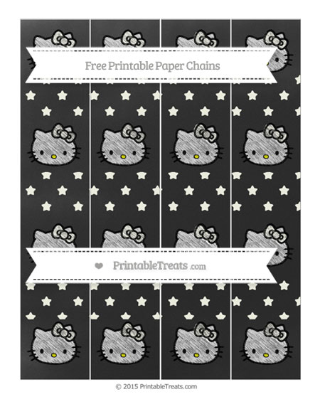 Free Ivory Star Pattern Chalk Style Hello Kitty Paper Chains