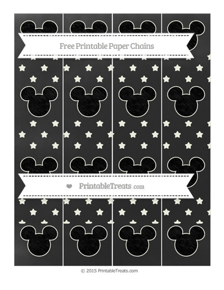 Free Ivory Star Pattern Chalk Style Mickey Mouse Paper Chains