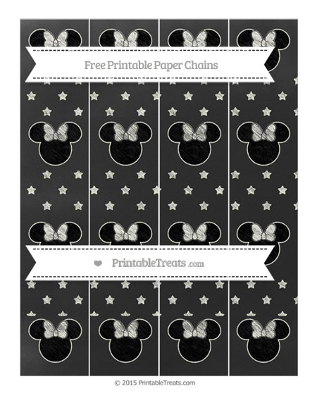 Free Ivory Star Pattern Chalk Style Minnie Mouse Paper Chains