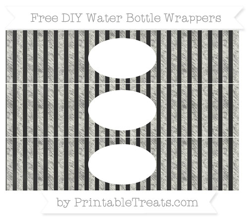 Free Ivory Striped Chalk Style DIY Water Bottle Wrappers