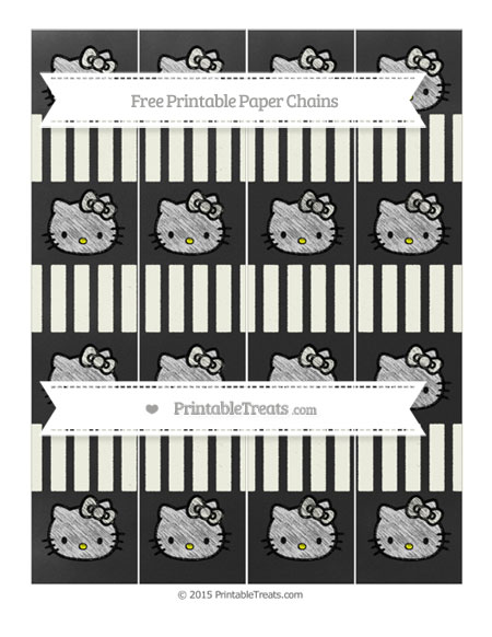 Free Ivory Striped Chalk Style Hello Kitty Paper Chains