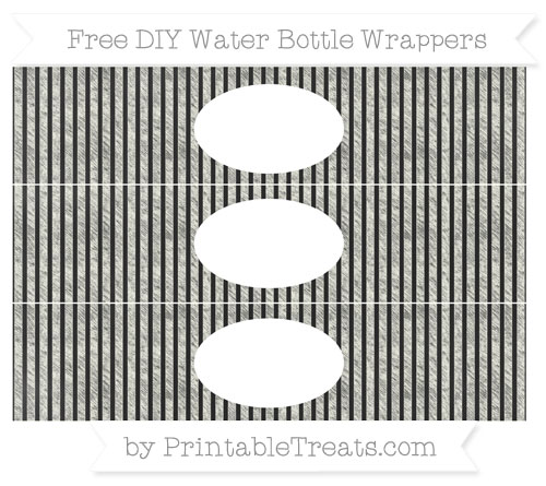 Free Ivory Thin Striped Pattern Chalk Style DIY Water Bottle Wrappers
