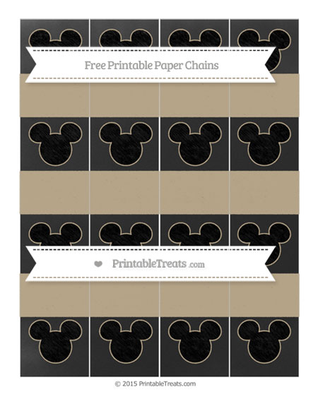 Free Khaki Chalk Style Mickey Mouse Paper Chains