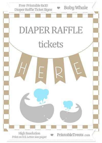 Free Khaki Checker Pattern Baby Whale 8x10 Diaper Raffle Ticket Sign
