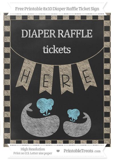 Free Khaki Checker Pattern Chalk Style Baby Whale 8x10 Diaper Raffle Ticket Sign