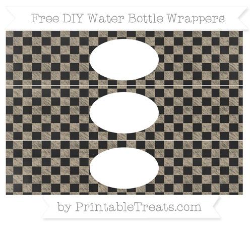 Free Khaki Checker Pattern Chalk Style DIY Water Bottle Wrappers