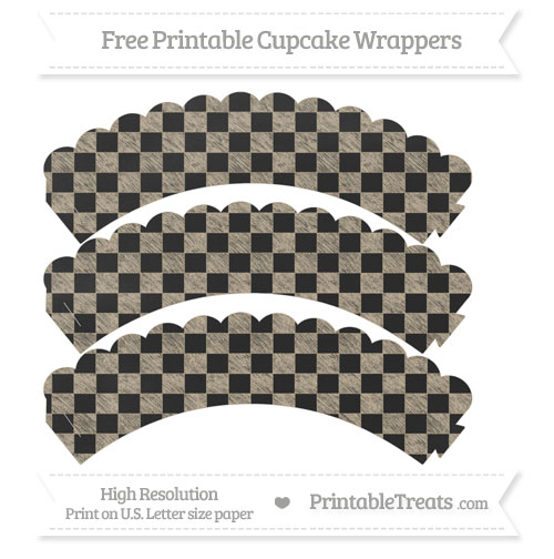 Free Khaki Checker Pattern Chalk Style Scalloped Cupcake Wrappers