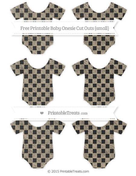 Free Khaki Checker Pattern Chalk Style Small Baby Onesie Cut Outs