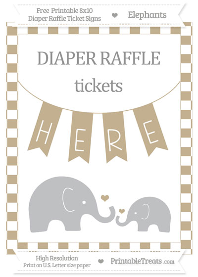 Free Khaki Checker Pattern Elephant 8x10 Diaper Raffle Ticket Sign