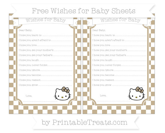Free Khaki Checker Pattern Hello Kitty Wishes for Baby Sheets
