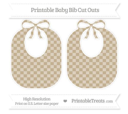 Free Khaki Checker Pattern Large Baby Bib Cut Outs