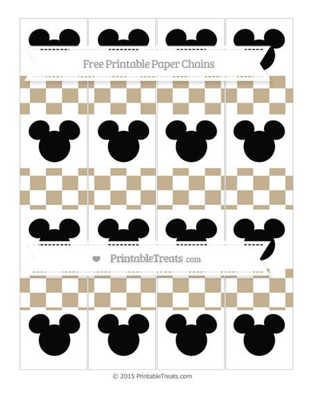 Free Khaki Checker Pattern Mickey Mouse Paper Chains